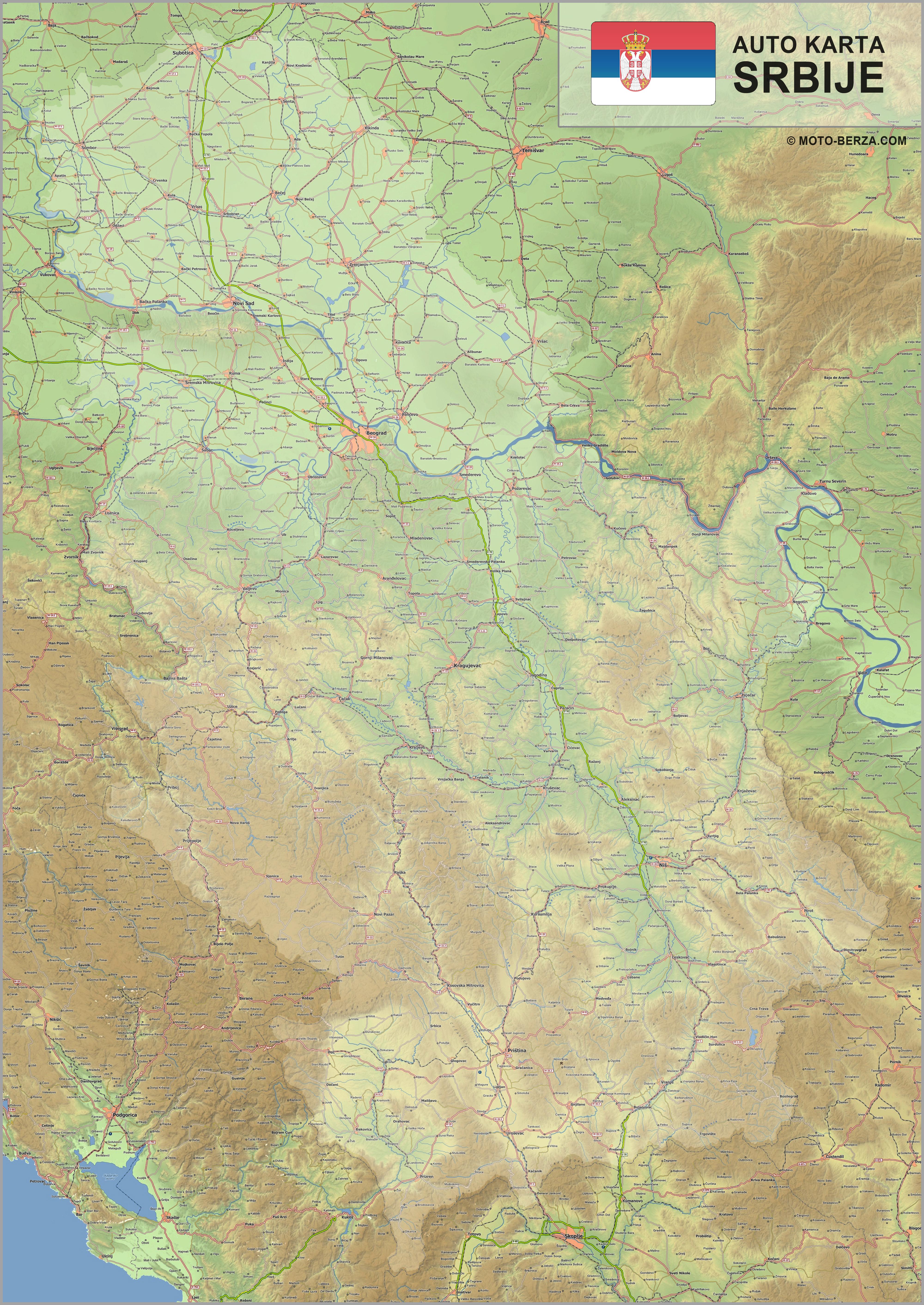 karta geografska srbije Mapa srbije   Auto karta Srbije   Geografska karta sa putevima karta geografska srbije